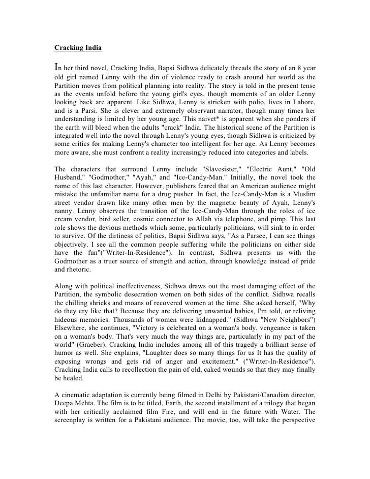 Cracking India Critical Essays