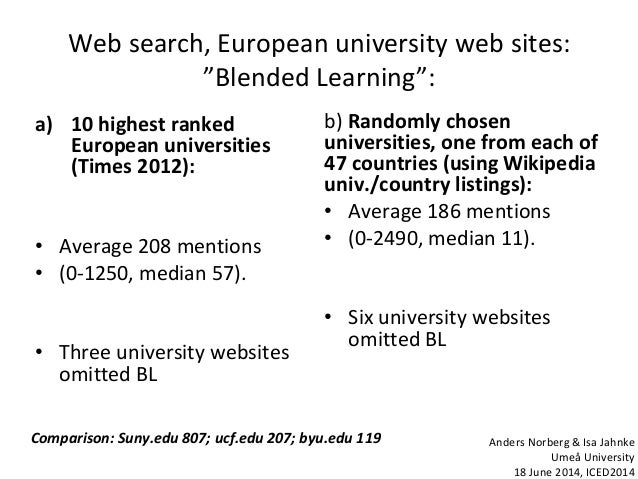 """Web search, European university web sites: """"Blended Learning"""": a) 10 highest ranked European universities (Times 2012): • ..."""