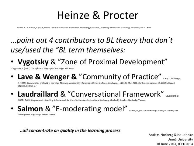 """Heinze & Procter ...point out 4 contributors to BL theory that don´t use/used the """"BL term themselves: • Vygotsky & """"Zone ..."""