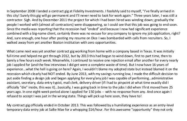 """InSeptember2008IlandedacontractgigatFidelityInvestments.Ifoolishlysaidtomyself,""""I'vefinallyarrivedin t..."""