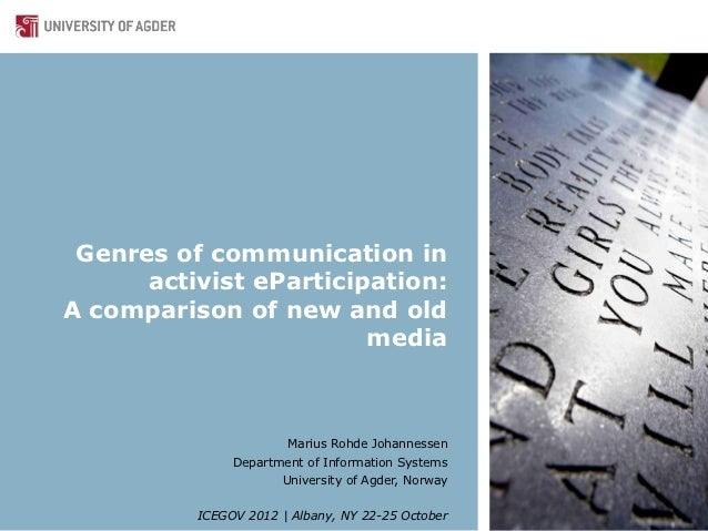 Genres of communication in      activist eParticipation:A comparison of new and old                        media          ...