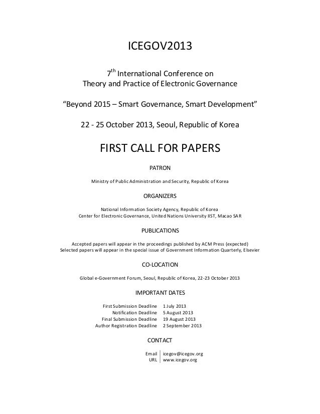 "ICEGOV20137thInternational Conference onTheory and Practice of Electronic Governance""Beyond 2015 – Smart Governance, Smart..."