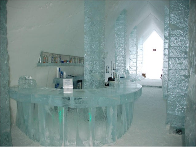 An ice hotel in Canada After melting each spring, the ice hotel is rebuilt every winter in Duchesnais, near Québec. Its 8t...