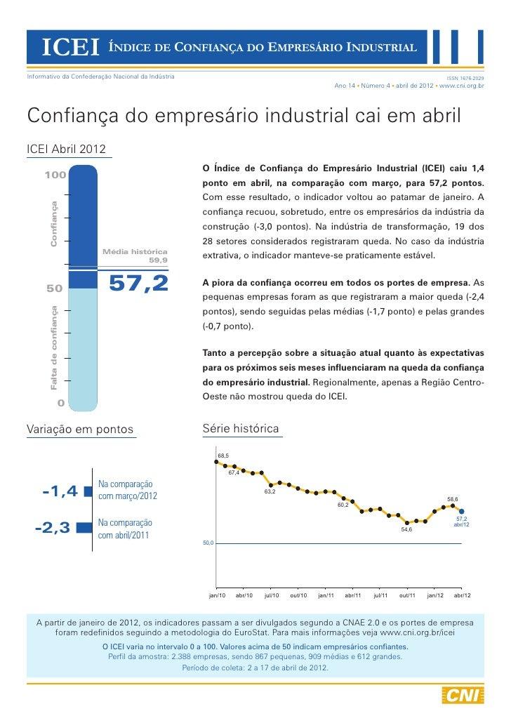 ICEI ÍNDICE DE CONFIANÇA DO EMPRESÁRIO INDUSTRIALInformativo da Confederação Nacional da Indústria                        ...