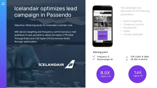 Icelandair optimizes lead campaign in Passendo Objective: Obtaining leads for Icelandairs member club. With device targeti...