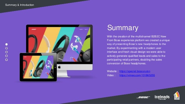 Finalist B2B Marketing Awards - New from Bose by Iceleads  Slide 2