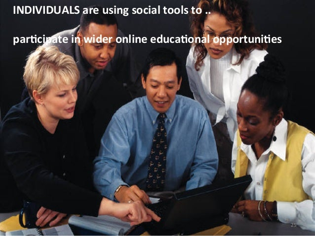 INDIVIDUALS are using social tools to ..  parBcipate in wider online educaBonal opportuniBes 2...
