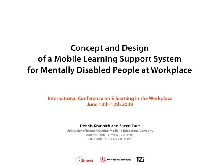 ICELW 2009 - Mobile Learning for Mentally Disabled People