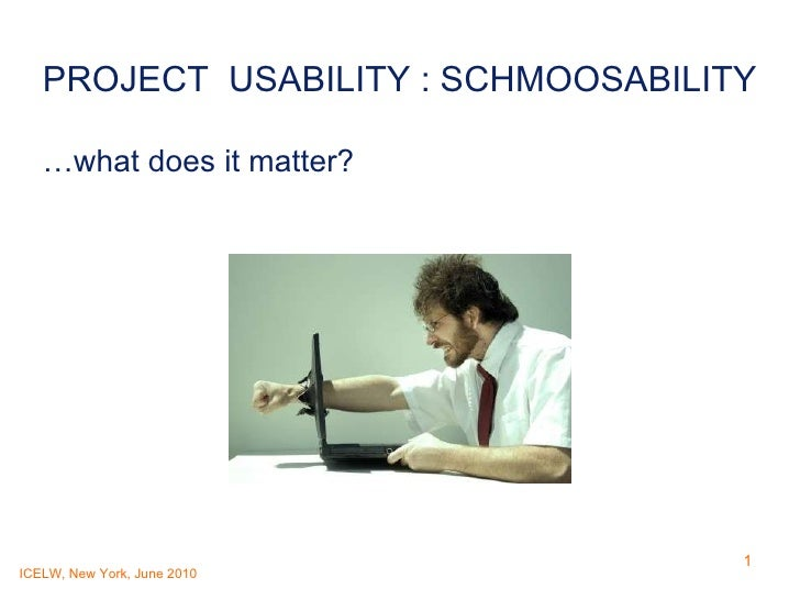 PROJECT  USABILITY : SCHMOOSABILITY …what does it matter?
