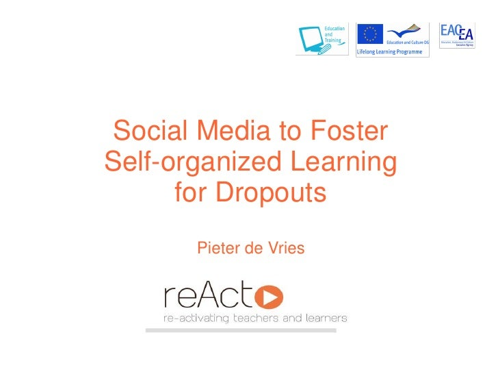 Social Media to FosterSelf-organized Learning      for Dropouts       Pieter de Vries