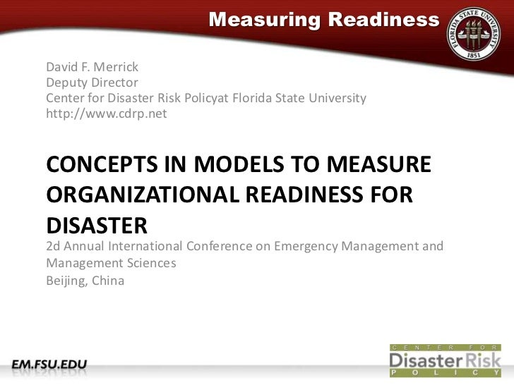 David F. MerrickDeputy DirectorCenter for Disaster Risk Policyat Florida State Universityhttp://www.cdrp.net<br />Concepts...