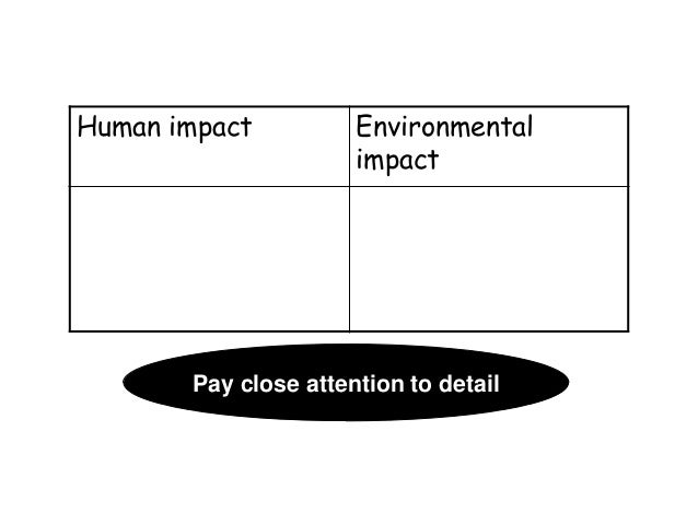 Human impact  Environmental impact  Pay close attention to detail