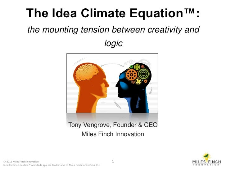 The Idea Climate Equation™:                    the mounting tension between creativity and                                ...