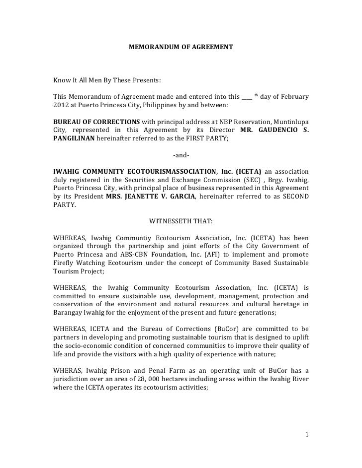 MEMORANDUM OF AGREEMENTKnow It All Men By These Presents:This Memorandum of Agreement made and entered into this ____     ...