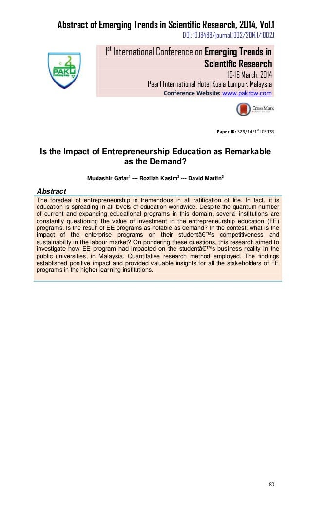 education entrepreneurship impact paper research An evaluation of the young enterprise wales initiative  the impact of entrepreneurship education within the 16-19 secondary school age sector the essential  paper type research paper.