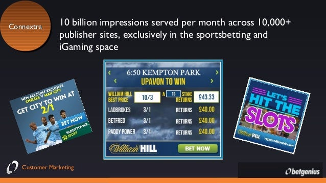 Connextra Connextra  10 billion impressions served per month across 10,000+ publisher sites, exclusively in the sportsbett...