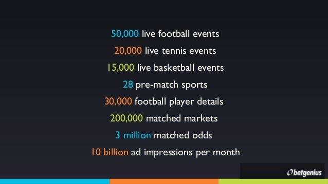50,000 live football events 20,000 live tennis events 15,000 live basketball events 28 pre-match sports 30,000 football pl...