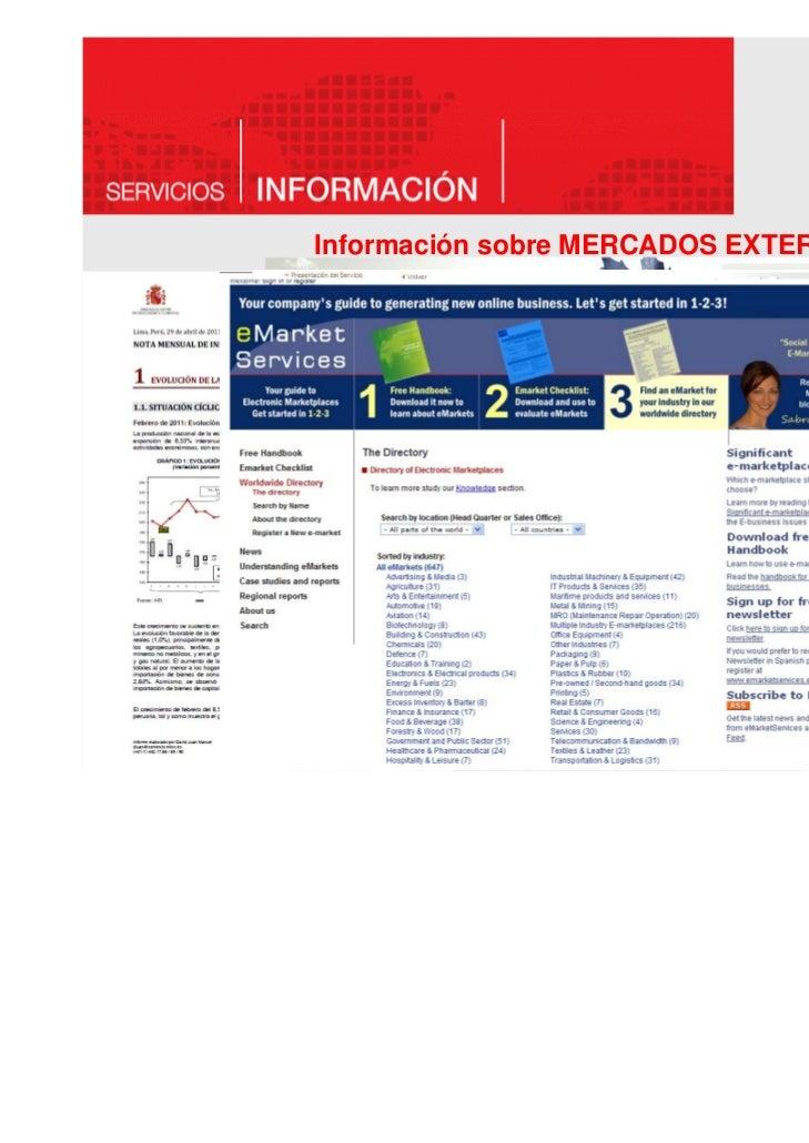Información sobre MERCADOS EXTERIORES    DOCUMENTACIÓN SOBRE PAÍSES–    informes económicos y de coyuntura, estructura eco...