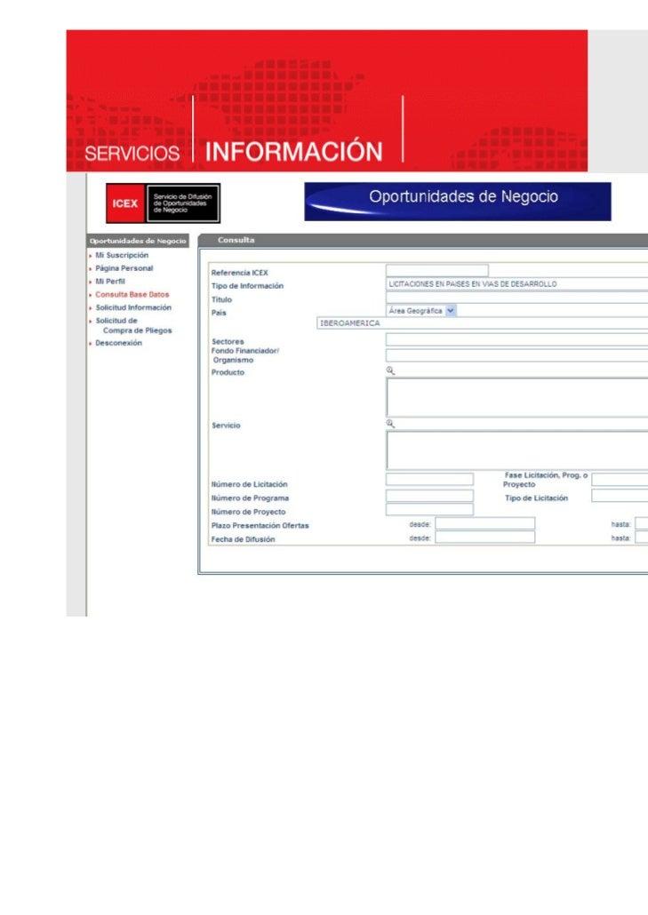 Servicio de OPORTUNIDADES DE NEGOCIO    LA INFORMACIÓN…–    Convocatorias financiadas por Organismos Multilaterales (Progr...