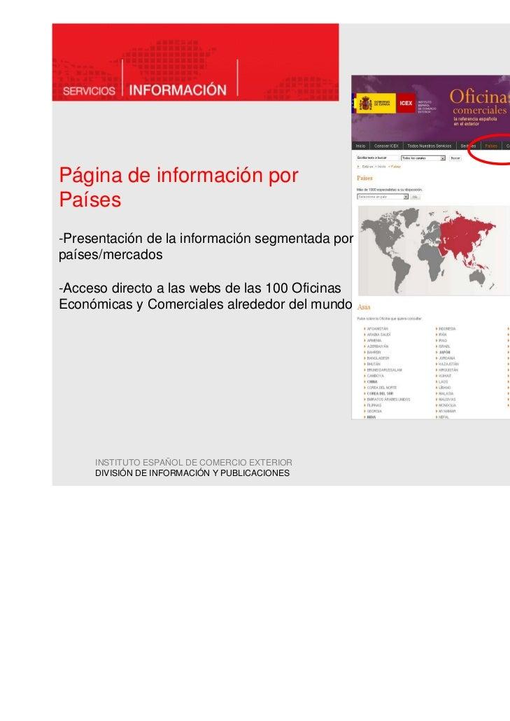 Página de información porPaíses-Presentación de la información segmentada porpaíses/mercados-Acceso directo a las webs de ...