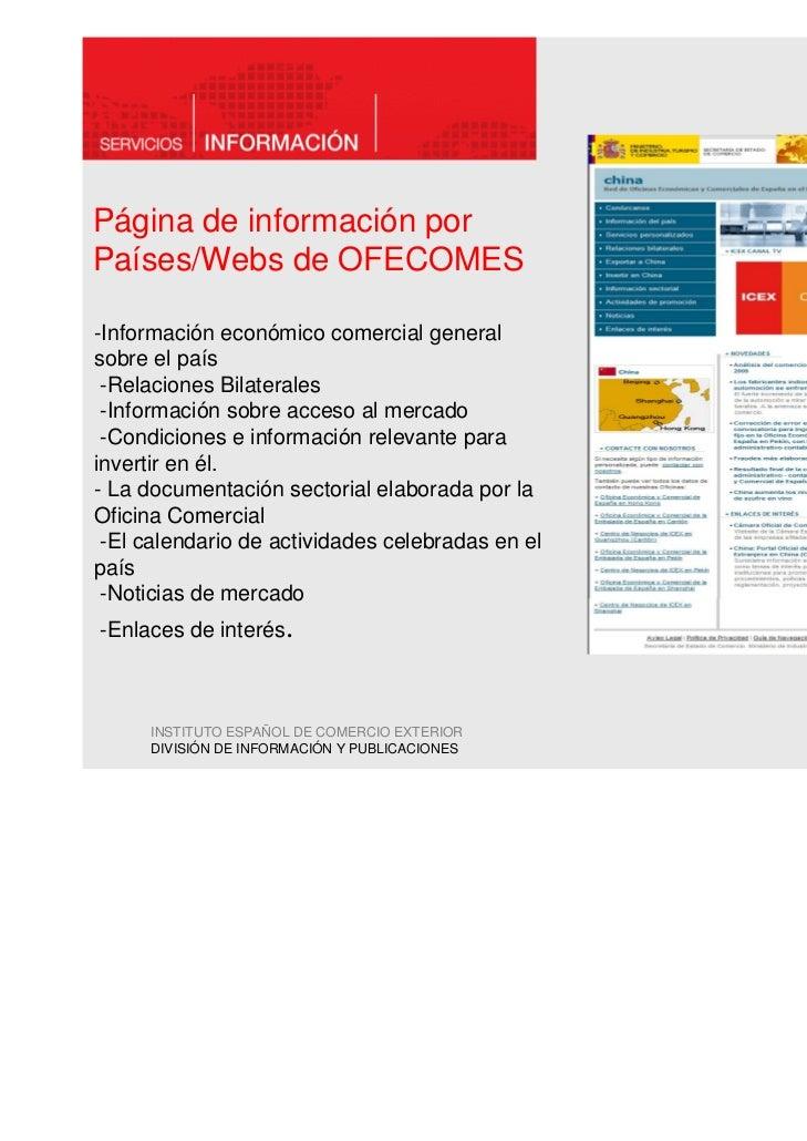 Página de información porPaíses/Webs de OFECOMES-Información económico comercial generalsobre el país -Relaciones Bilatera...