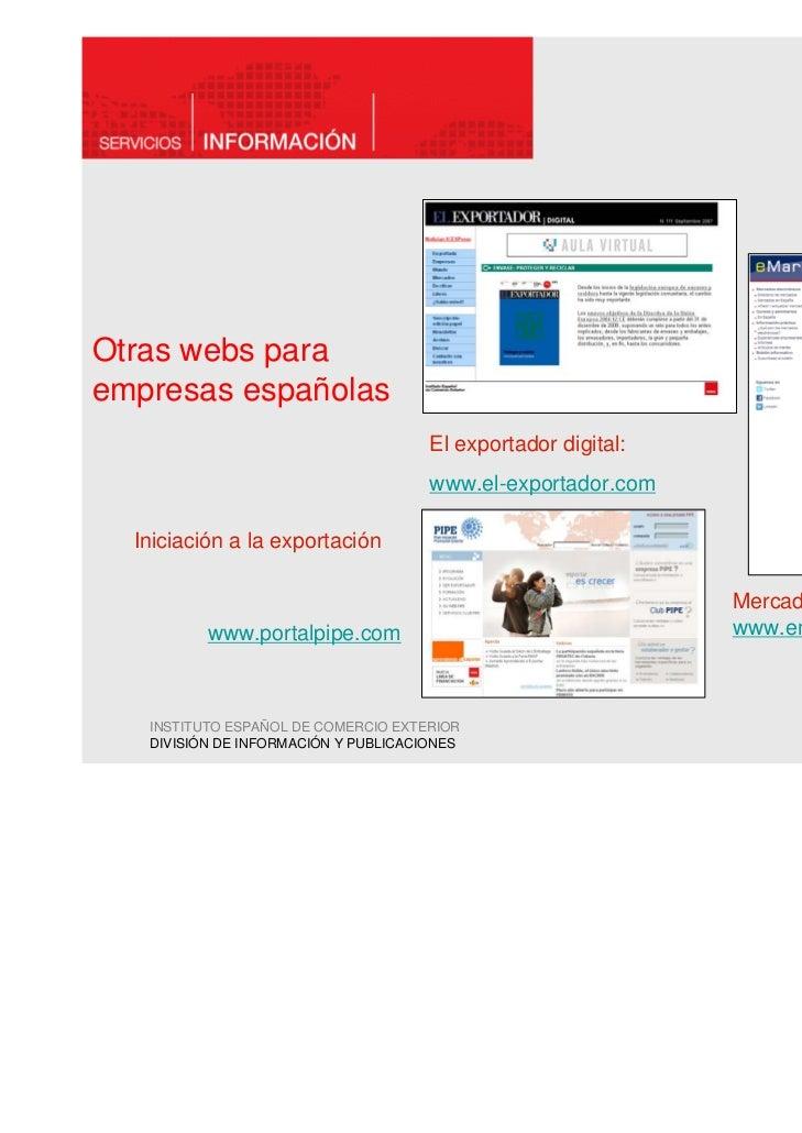 Otras webs paraempresas españolas                                      El exportador digital:                             ...