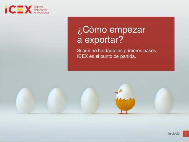 11Iniciación¿Cómo empezara exportar?Si aún no ha dado los primeros pasos,ICEX es el punto de partida.
