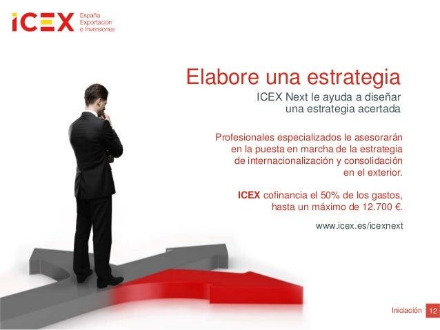 12IniciaciónElabore una estrategiaICEX Next le ayuda a diseñaruna estrategia acertadaProfesionales especializados le aseso...