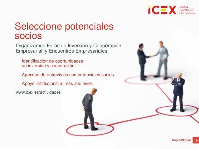 19ImplantaciónIdentificación de oportunidadesde inversión y cooperación.Agendas de entrevistas con potenciales socios.Apoy...