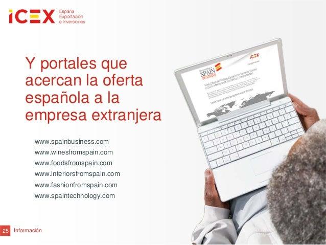 25Y portales queacercan la ofertaespañola a laempresa extranjerawww.spainbusiness.comwww.winesfromspain.comwww.foodsfromsp...
