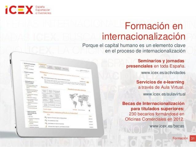 31FormaciónFormación eninternacionalizaciónServicios de e-learninga través de Aula Virtual.www.icex.es/aulavirtualPorque e...
