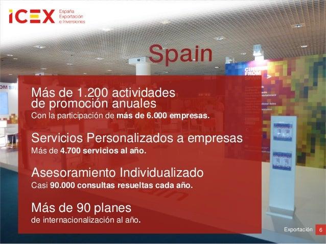 6ExportaciónMás de 1.200 actividadesde promoción anualesCon la participación de más de 6.000 empresas.Servicios Personaliz...
