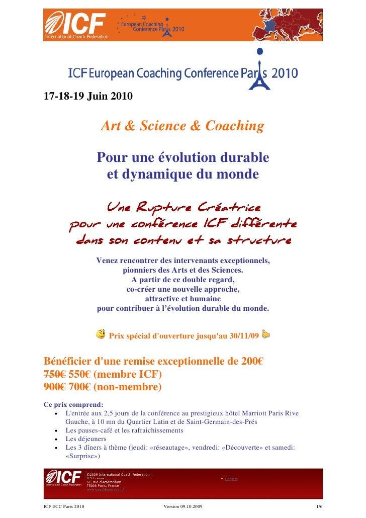 17-18-19 Juin 2010                        Art & Science & Coaching                       Pour une évolution durable       ...