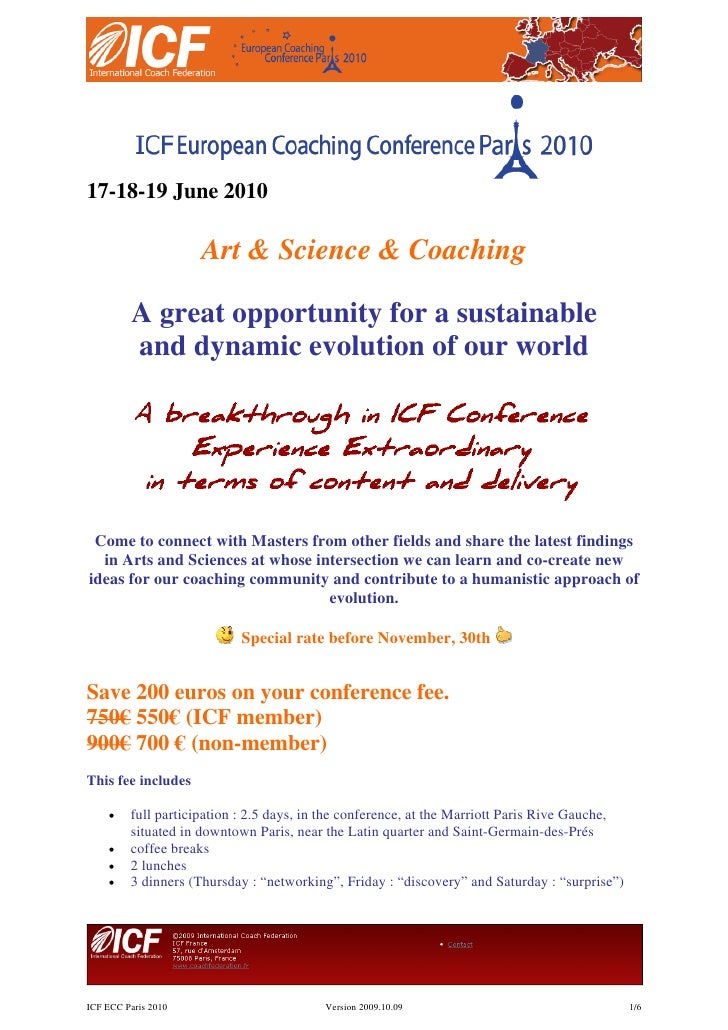 17-18-19 June 2010                       Art & Science & Coaching           A great opportunity for a sustainable         ...