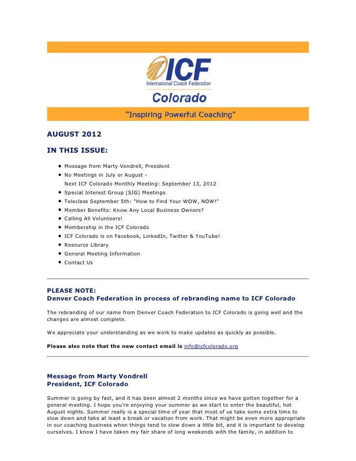 AUGUST 2012IN THIS ISSUE:      Message from Marty Vondrell, President      No Meetings in July or August -      Next ICF C...