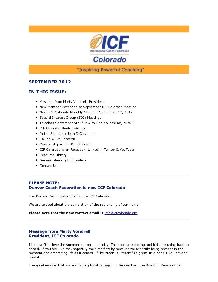 SEPTEMBER 2012IN THIS ISSUE:      Message from Marty Vondrell, President      New Member Reception at September ICF Colora...