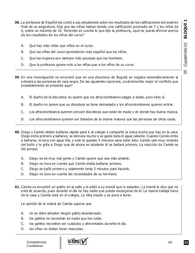 11DFguia_Competencias Ciudadanas 5ºCuadernillo01BLOQUE1 La profesora de Español les contó a sus estudiantes sobre los resu...
