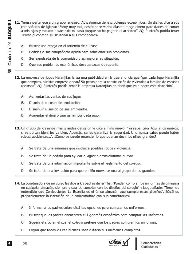 4 DE guia_Competencias Ciudadanas 5ºCuadernillo01BLOQUE1 Teresa pertenece a un grupo religioso. Actualmente tiene problema...