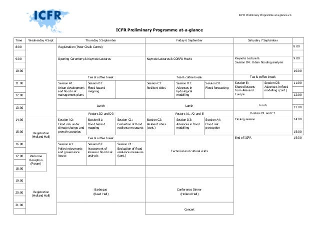ICFR Preliminary Programme at a glance v.4 ICFR Preliminary Programme at-a-glance Time Wednesday 4 Sept Thursday 5 Septemb...