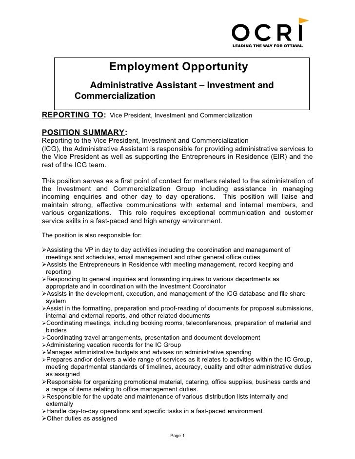 Employment Opportunity Administrative Assistant U2013 Investment And  Commercialization ...  Administrative Assistant Summary