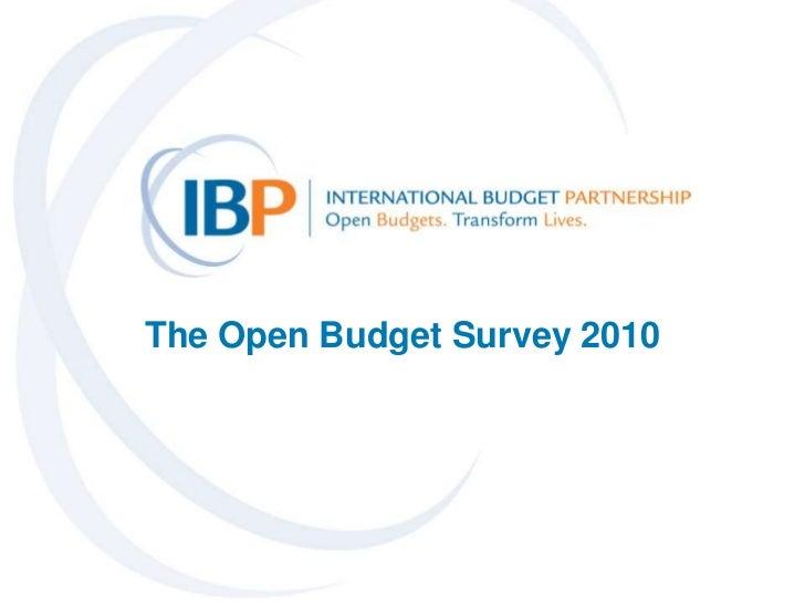 The Open Budget Survey 2010<br />