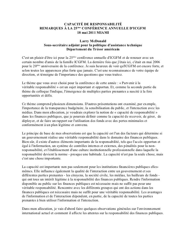 CAPACITÉ DE RESPONSABILITÉ            REMARQUES À LA 25ème CONFÉRENCE ANNUELLE DICGFM                             18 mai 2...