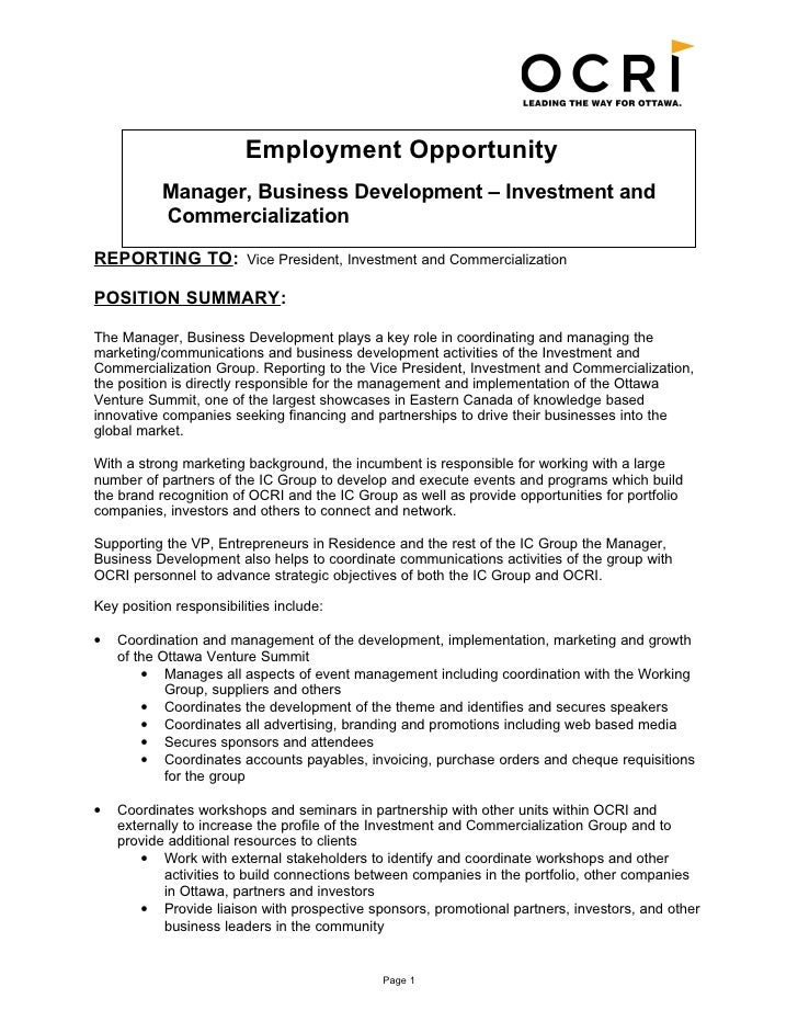... Business Development Job Description. Employment Opportunity Manager, Business  Development U2013 Investment And Commercialization ...