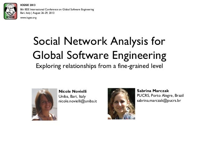 Social Network Analysis for Global Software Engineering Exploring relationships from a fine-grained level Sabrina Marczak ...