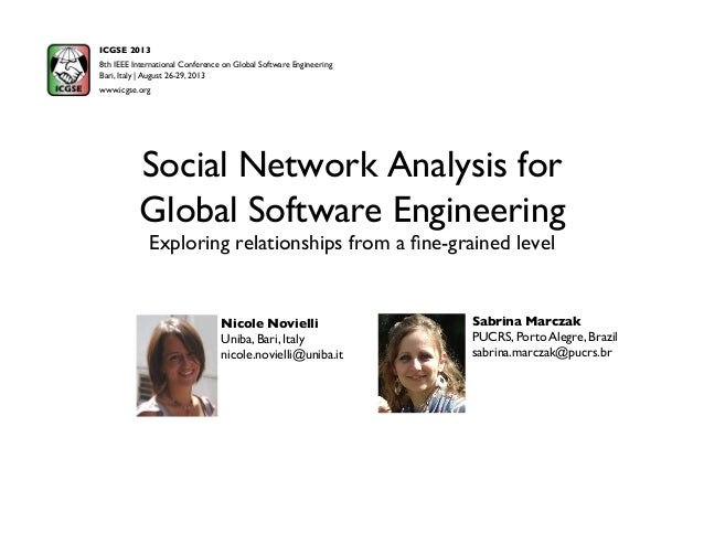 Social Network Analysis for Global Software Engineering Exploring relationships from a fine-grained level Sabrina Marczak P...