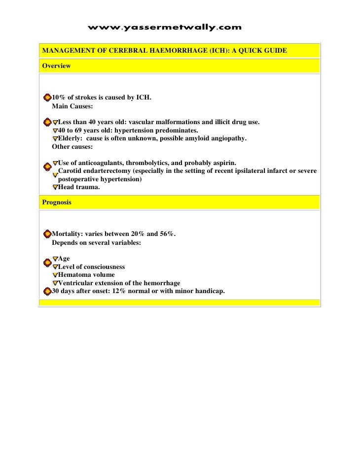 www.yassermetwally.com  MANAGEMENT OF CEREBRAL HAEMORRHAGE (ICH): A QUICK GUIDE  Overview      10% of strokes is caused by...