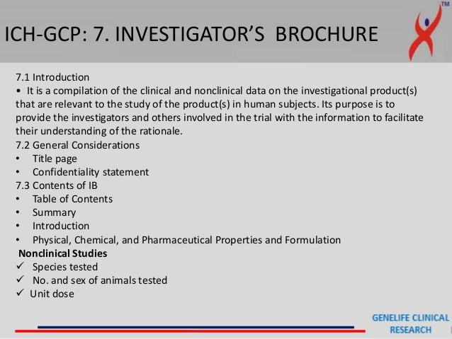 ... Supplements; 38. ICH GCP: 7. INVESTIGATORu0027S BROCHURE ...