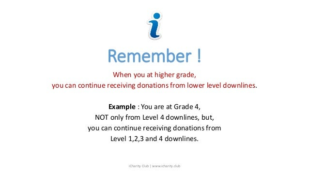 Remember ! When you at higher grade, you can continue receiving donations from lower level downlines. Example : You are at...