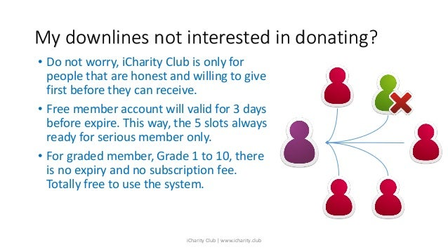 My downlines not interested in donating? • Do not worry, iCharity Club is only for people that are honest and willing to g...