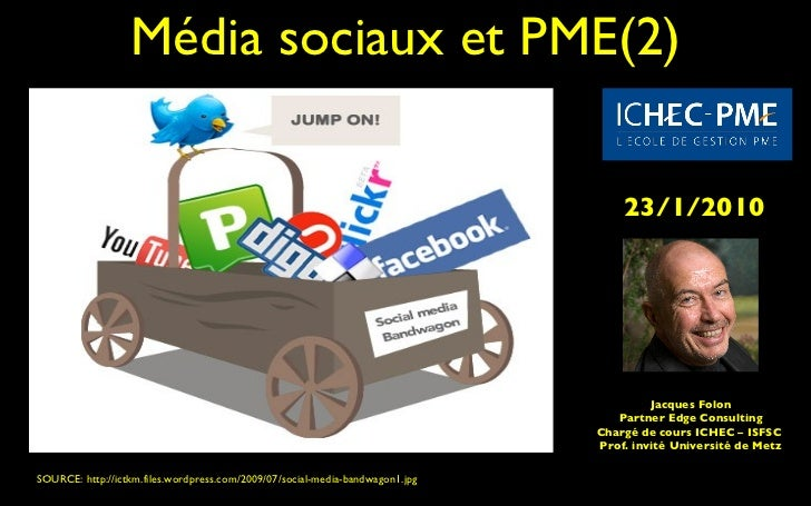 Média sociaux et PME(2) SOURCE: http://ictkm.files.wordpress.com/2009/07/social-media-bandwagon1.jpg  Jacques Folon Partne...